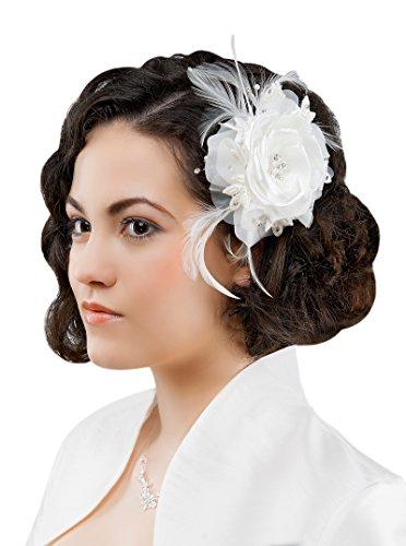 Brauthaarschmuck Haargesteck Blume ,Federn und Kristallsteinen Tüll creme champagner ivory weiß (ivory) (Tüll-shop)