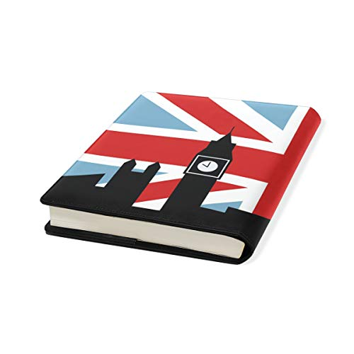 Schutzhülle für Schulbücher, aus PU-Leder, mit britischer Flagge und Londoner Flagge, 22,9 x 27,9 cm