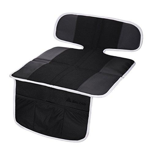Salcar Kindersitz Unterlage Sitzschutz Auto für Isofix Autositz Schutzunterlage Anti Rutsch, Baby Auto Sitz Schutz mit Aufbewahrungsfunktion - Schwarz
