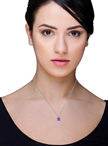 Miore - Collier avec pendentif - Or rose 9 cts - Quartz - 45 cm Purple Quartz
