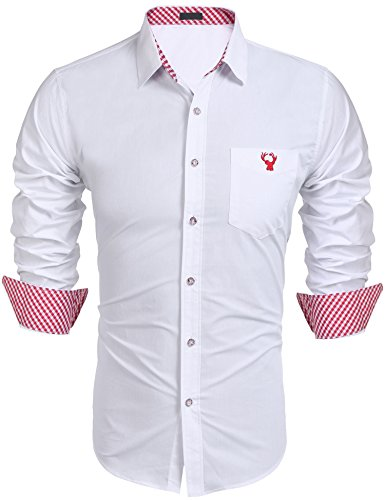 Burlady Hemden Herren Trachtenhemden Karohemd Langarm Freizeithemden Karrierte Einfarbig Shirts mit Gestickten Elch Super Qualität Rot