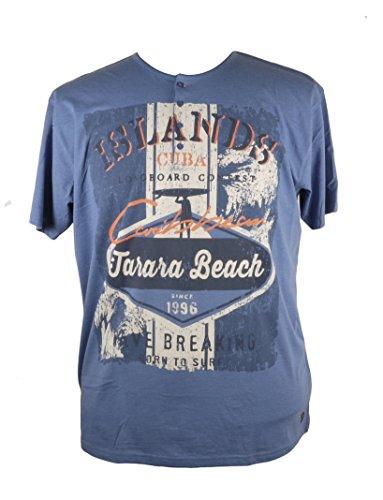 Kurazarm-Shirt von Kitaro mit Surfer-Print, jeansblau Blau