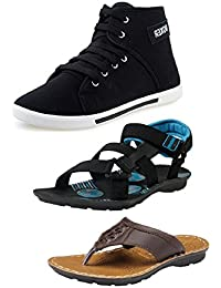 Tempo Men's Combo Pack of 1Shoes and 1Sandal, 1Slipper(BXR Sneakers, Sumo Gry Sandal & ODI Slippers)