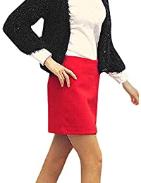 sourcingmap® Woman Concealed Zipper Back Worsted Mini A Line Skirt Red M