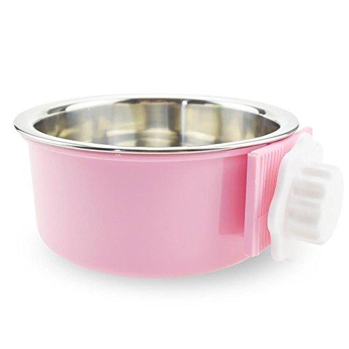 Aolvo Edelstahl Fressnapf abnehmbarer zum Aufhängen von Wasser Pets Käfig Coop Cup für Katzen Welpen Mittelgroße Hunde rose Rose Cup