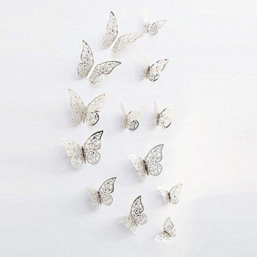 New 12Silber 3D Schmetterling Wand Aufkleber art Aufkleber Zuhause Zimmer Dekoration Decor...