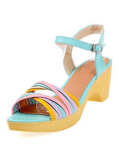 LFNLYX Chaussures Femme-Habillé / Décontracté-Bleu / Violet / Beige-Gros Talon-Bout Ouvert-Sandales-PU Blue