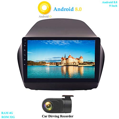 XISEDO 9 Zoll Android 8.0 Autoradio Car Radio In-Dash 8-Core RAM 4G ROM 32G Autonavigation Car Radio für Hyundai IX35 (2010-2014) (mit DVR)