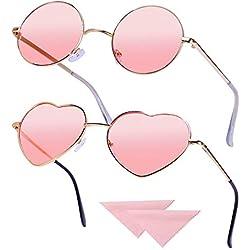2 Pares Gafas Hippie Gafas de Sol en Forma de Corazón, Redondas Retro Gafas Para Los Accesorios De Disfraces Hippie, Gafas Vintage con 2pcs Paño de gafas, Marco Dorado Rosa