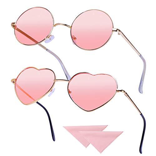 HIFOT 2 Paare Hippie Brille Retro Runde Brille Herzförmige Brille Set für 60er 70er Jahre Kostümzubehör Vintage Sonnenbrille mit 2 Stück Putztuch, Rose Gold Frame Pink