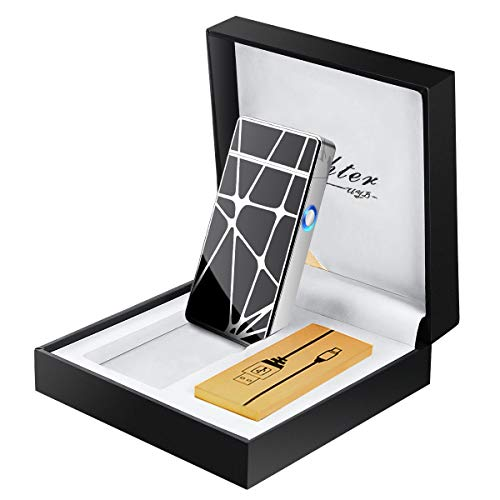Fypo Briquet Electrique, Briquet USB Original en métal avec Double Arc Electrique Rechargeable pour Femme et Homme, Inépuisable et Ecologique avec Coffret (Noir)