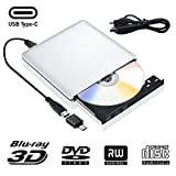 Lettore Dvd Blu Ray Esterno 3D, USB 3.0 Type C Bluray Ottico Dvd CD RW Masterizzatore di File Masterizzatore Rewriter Compatibile per MacBook OS Windows 7 8 10 PC iMac