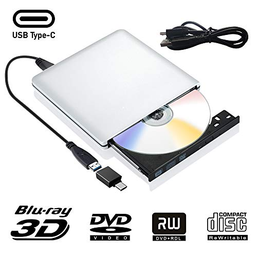 Externe DVD Laufwerk Blu Ray 3D USB 3.0 USB Type C Externes Blueray CD DVD RW Rom Tragbar Brenner für PC MacBook iMac Mac OS Windows 7/8/10/Vista/XP