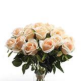 cherrboll Artificiale Rose Fiori di Seta Floreale Rose Finti Bouqets composizioni for Home Party Wedding Garden Decor, Pezzi Bud Champagne