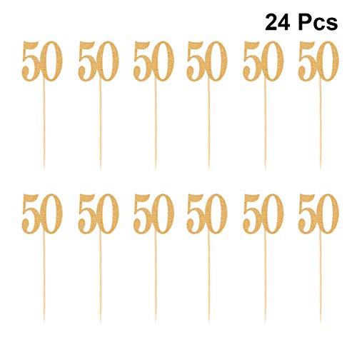 BESTONZON 24 Stück Kuchen Topper Glitzer Papier Nummer 50 Kuchen Obst Picks Cupcake Dekoration Party Supplies (Golden)