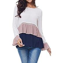 Kinikiss Mujer Camisas de Vestir Otoño Manga Larga Elegante Moda Round Collar Blusa T-shirt Blancas