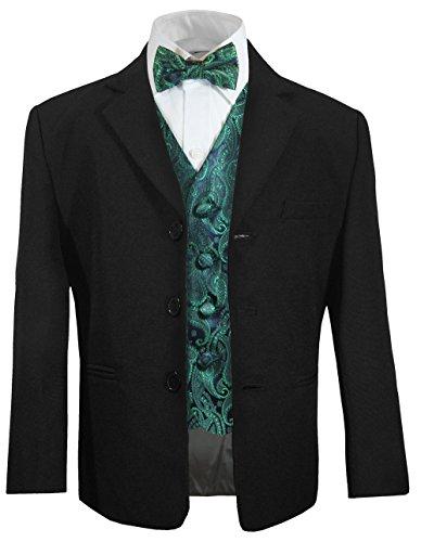 Festlicher Kinder Anzug für Jungs (tailliert) schwarz + grüne Paisley Weste mit Fliege 16