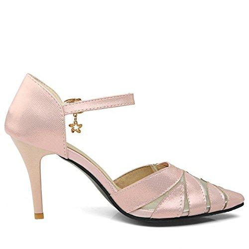 TAOFFEN Femmes Pointue Escarpins Mode Aiguille Talons Hauts Sangle De Cheville Soiree Chaussures Rose