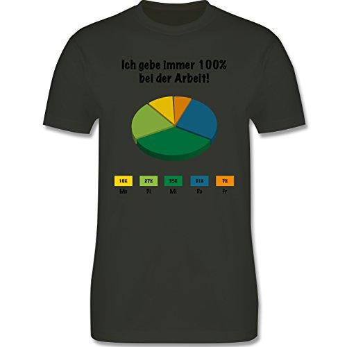 Sprüche - Ich gebe bei der Arbeit 100 Prozent - Herren Premium T-Shirt Army