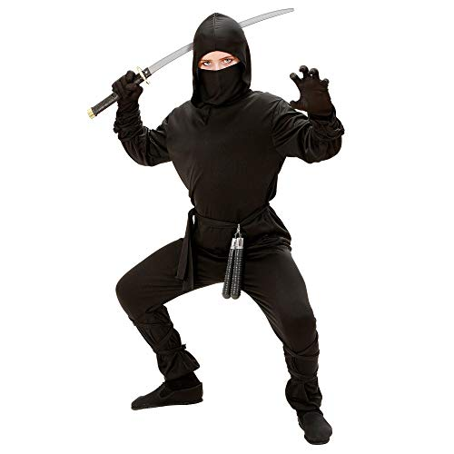 Widmann 02647 Kinderkostüm Ninja, schwarz, 140 cm (Für Superhelden Kostüm-ideen Kinder)