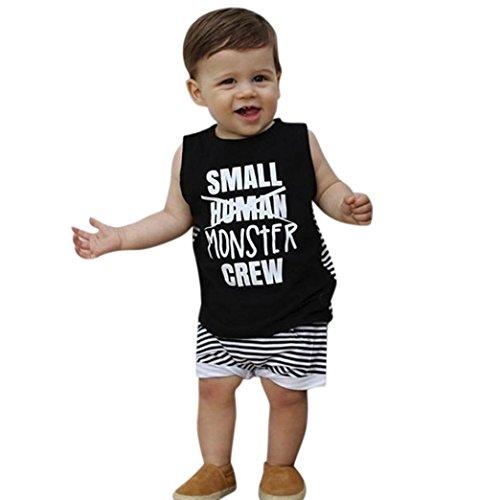 8646cbf23a1ca4 Longra Babykleidung 2 Stücke Kleinkind Kinder Baby Jungen Mädchen Tank Top  Ärmellos Brief T-Shirt Weste + Shorts Sommer Outfits Baby Gestreift ...