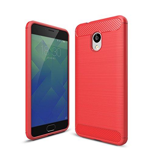 WolinTek Custodia Meizu M5S, TPU Gel Cover, Ultra Slim Skin Protettiva in Silicone Case per Meizu M5S, Rosso
