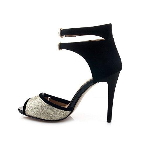 Adee Girls paillettes colori assortiti paillettes tessuto sandali Black