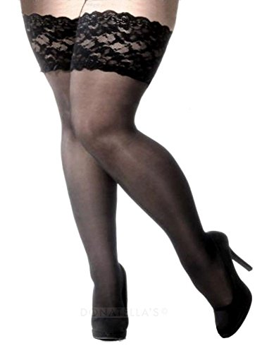 Plus Size black Hold Ups with wide lace band (22 to 34)