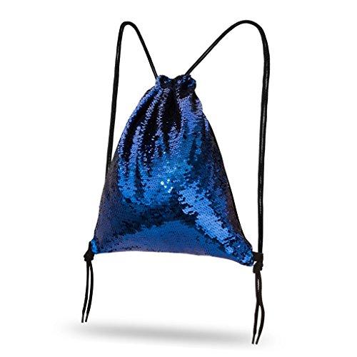 Lady Donovan - Turnbeutel Sportbeutel Tasche Bling Bag Jute-Beutel Glitzer einfarbig - Dunkelblau