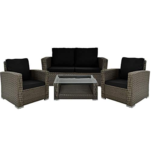 Deuba Poly Rattan Lounge Set Grau 7cm Dicke Auflagen 2 Sessel Bank Tisch Aluminium Wetterfest Garten Gartenmöbel Balkon