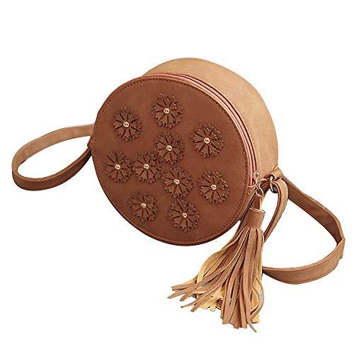 Ears Frauen Mini-Tasche Handtasche kleine Blume quaste Tasche Trend einzelne Schulter diagonal runde Tasche Umhängetasche Damen Clutch Stilvolle Vintage Tasche Elegant Schultertasche