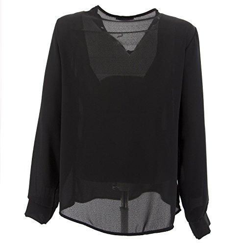 Netgozio Maglia Donna Chiffon T-Shirt Bluse Scollo V Camicia Maniche Lunghe Elegante Nuovo Nero