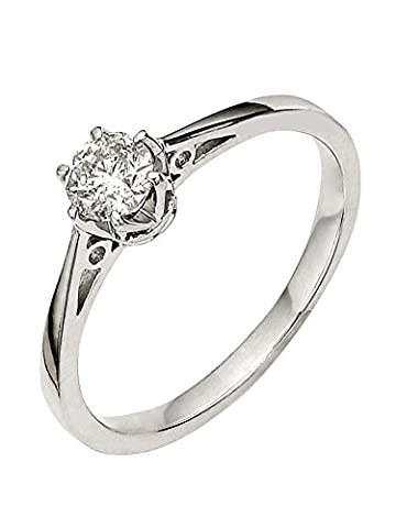diamond solitaire ring with 1/4ct natural diamond (9ct White Gold, N)