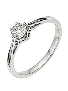 premium 1/6 carat diamond solitaire engagement ring Size H
