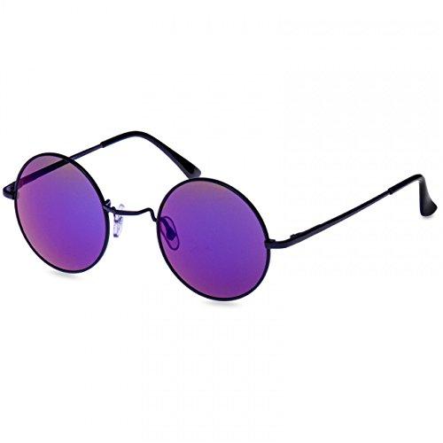 Lila Brille John Lennon (CASPAR SG039 runde Retro John Lennon Sonnenbrille / Rundbrille / Hippi Brille / Nickelbrille, Farbe:schwarz / blau)