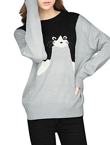 Donna Maniche A Pipistrello Cat Motivi Maglioncino Pullover Maglia - sintetico, Gray, 100% acrilico, Donna, S 36 EU
