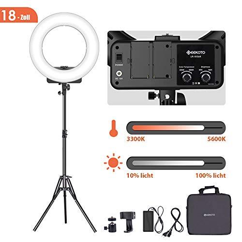 GEEKOTO Ringlicht 18-Zoll, 48W LED Ringleuchte für Smartphone und DSLR-Kameras, Dimmbare LED Ringlicht Kit mit Bi-Farbe 3300-5600K für YouTube Videoaufnahmen Make-up Selfie (Foto-ausrüstung)