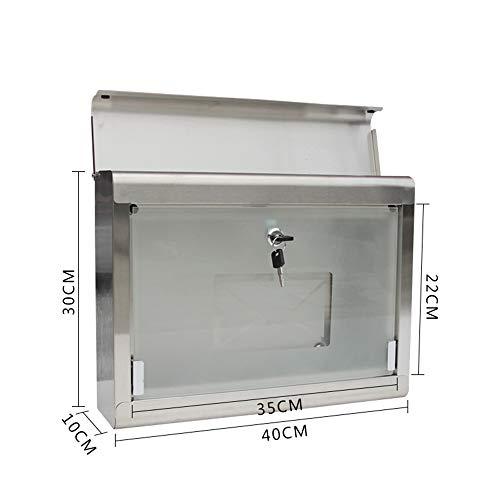 Royala Wasserdichte Briefkasten Edelstahl Briefkasten mit 2 Schlüsseln Enthalten Glas Briefkasten Für Garten Im Freien - 2