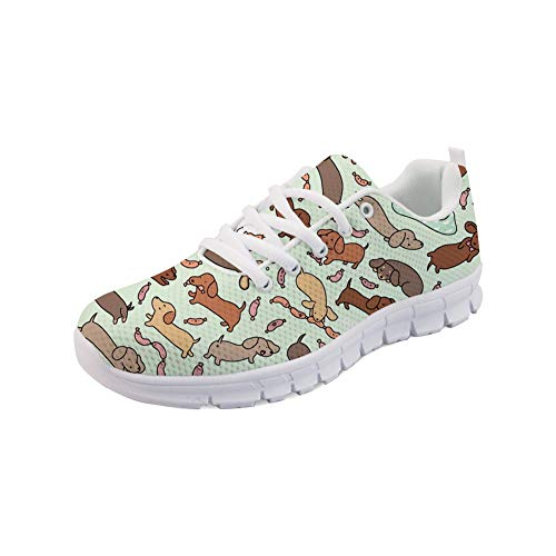 HUGS IDEA Laufende Tenis-Schuhe für Damen Wiener Dog Wonderland Kunstdruck Lässig Athletic Walking Jogging Sneakers - EU-Größe 42 - Womens Green Check