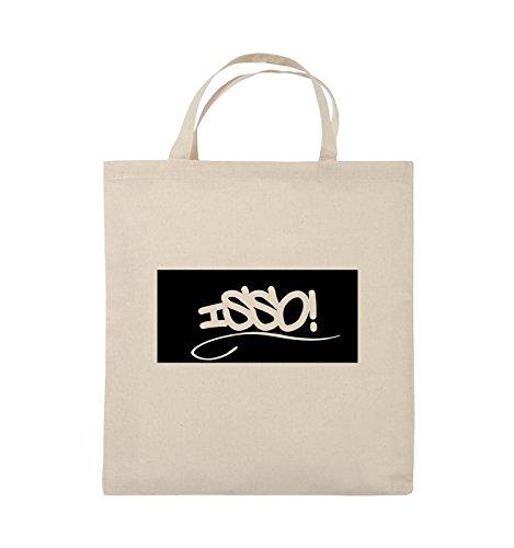 Comedy Bags - ISSO NEGATIV - Jutebeutel - kurze Henkel - 38x42cm - Farbe: Schwarz / Pink Natural / Schwarz