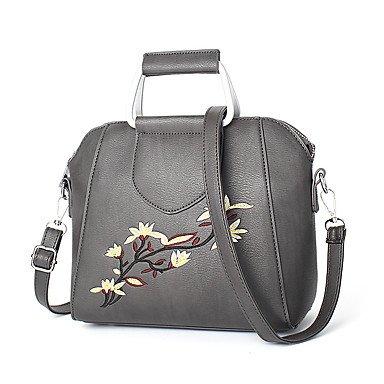 Damenmode Spleißen PU Leder Messenger Umhängetaschen Handtaschen/Klt Dark Gray