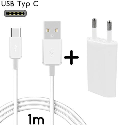 Coverlounge - USB Typ C Ladegerät Ladekabel mit Netzstecker/Netzteil kompatibel für alle Sony Ericsson Smartphones mit USB Typ C Anschluss | Farbe: weiß | Länge: 1 Meter / 1m 011 Blackberry