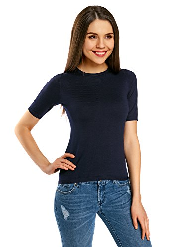 oodji Collection Women's Short Sleeve Crew Neck Pullover