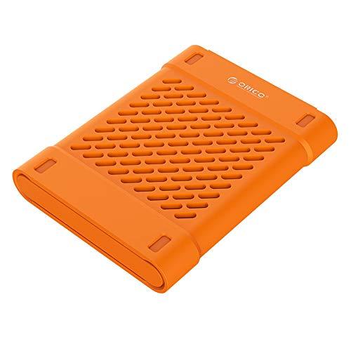 2,5-Zoll-Silikon-Schutzkasten/Aufbewahrungstasche für SSD HDD Festplatte HDD Protetion Box mit der Wärmeabfuhr,Orange