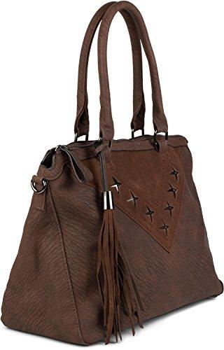 styleBREAKER Shopper Tasche mit Metall-Cutout in Stern Form und Quaste, Schultertasche, Umhängetasche, Handtasche, Damen 02012180, Farbe:Dunkelblau Dunkelbraun