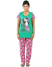 New Darling Womens EMERALD FUCHSIA PURPLE AOP Cotton Pyjama Sets