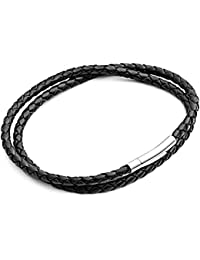 Tribal Steel Women's Black Double Wrap Around Leather Bracelet with Stainless Steel Clasp of 19cm