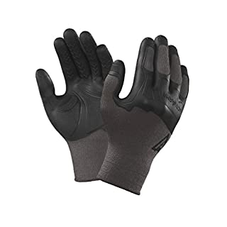 Ansell ActivArmr 97-310 Multi-purpose gloves, mechanical protection, Black, Size 10 (Pack of 12 pairs)