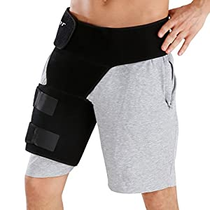 Finether Hip Thigh Support: Adjustable Compression Support Groin Support Wrap and Hip Stabilizer Compression Recovery Brace Thigh Strap for Hip Injury Sciatic Nerve Pain Hernia Groin Pull Hamstring for Men&Women