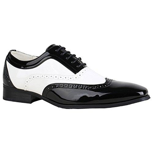 Stiefelparadies Klassische Herren Business Halbschuhe Schnürer Basic Look 152661 Schwarz Weiss 41 | Flandell® (Halbschuhe Gefütterte Klassische)